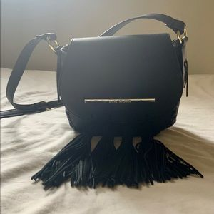 Steve Madden Black Fringe Cross Body Bag